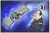 Cartoon: Hollande lost in space (small) by Kostas Koufogiorgos tagged karikatur,koufogiorgos,illustration,cartoon,hollande,galileo,satellit,frankreich,weltall,weltraum,orientierung,politik,präsident,navigation