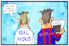 Cartoon: Kataloniens Unabhängigkeit (small) by Kostas Koufogiorgos tagged karikatur,koufogiorgos,illustration,cartoon,katalonien,el,clasico,fussball,barcelona,real,madrid,spanien,unabhaengigkeit,separatismus