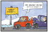 Cartoon: Mehr Abstand! (small) by Kostas Koufogiorgos tagged karikatur,koufogiorgos,illustration,cartoon,armlänge,abstand,auto,auffahrunfall,crash,verkehr,eis,glätte,winter