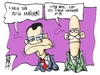 Cartoon: Papandreou and Papakonstantinou (small) by Kostas Koufogiorgos tagged papandreou,papakonstantinou,langarde,forodiafigi,tax,evasion,list,lista