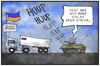 Cartoon: Russische Invasion (small) by Kostas Koufogiorgos tagged karikatur,koufogiorgos,illustration,cartoon,konvoi,russland,ukraine,panzer,invasion,einmarsch,stau,politik,konflikt