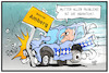 Cartoon: Seehofers Probleme (small) by Kostas Koufogiorgos tagged karikatur,koufogiorgos,illustration,cartoon,seehofer,problem,flüchtlingspolitik,bottrop,amberg,auto,unfall,crash,innenminister