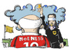 Cartoon: Uli Hoeneß (small) by Kostas Koufogiorgos tagged hoeneß,justitia,steuern,anklage,justiz,fussball,bayern,karikatur,koufogiorgos
