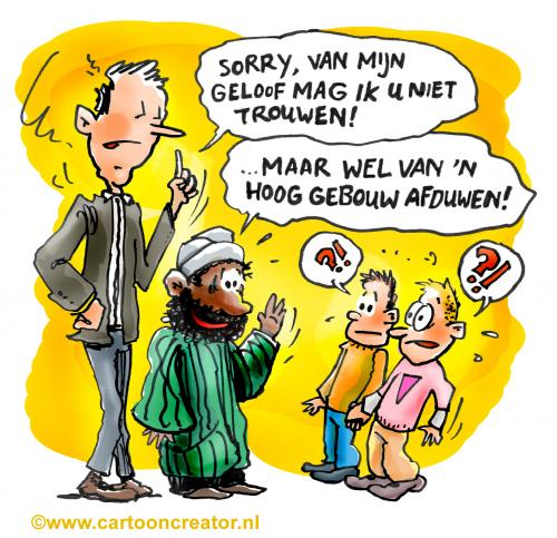Cartoon: Gay marriage (medium) by illustrator tagged gay,marriage,religion,islam,homo,queer,issue,relationship,friends,muslim,illustration,cartoon,gag,satire,joke,trouwen,flat,heirat,gebouw