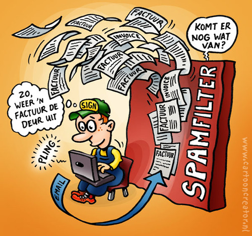 Cartoon: spamfilter (medium) by illustrator tagged spam,filter,mail,email,factuur,invoice,fire,wall