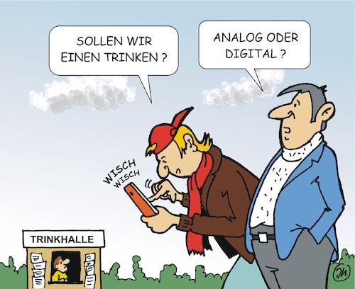 Cartoon: Analog oder Digital (medium) by JotKa tagged analog,digitale,smartphone,männer,trinkhalle,lifestyle,trinken,internet,social,media,freizeit,analog,digitale,smartphone,männer,trinkhalle,lifestyle,trinken,internet,social,media,freizeit