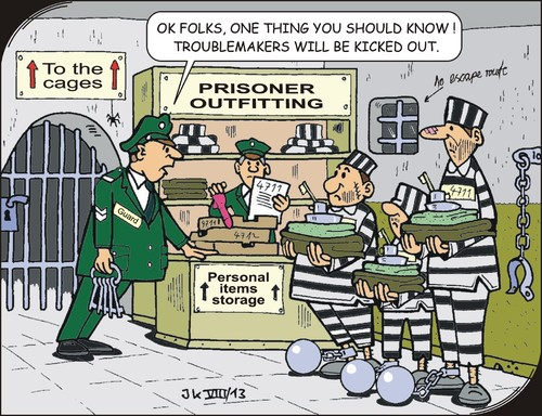Cartoon: Jailbirds (medium) by JotKa tagged justice,jail,prison,penitentiary,supervisory,judgment,judge,interfering,cell,peaceful,prisoner,detention,center