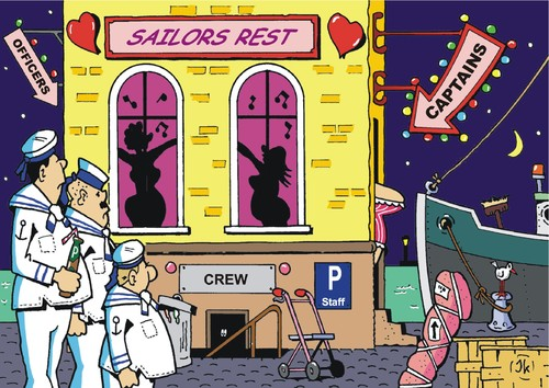 Cartoon: Sailors destiny (medium) by JotKa tagged sailors,destiny,sailor,officers,captains,maritime,shipping,marine,ships,harbor,harbors,waterfront,bar,whores,brothel,bordello,lake,ocean,love,eroticism,prostitution,loneliness,happiness,joy,quarter,ashore,reeperbahn,cities,relationships,sailors,destiny,sailor,officers,captains,maritime,shipping,marine,ships,harbor,harbors,waterfront,bar,whores,brothel,bordello,lake,ocean,love,sex,eroticism,prostitution,loneliness,happiness,joy,quarter,ashore,reeperbahn,cities,relationships