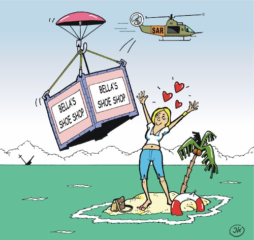 Cartoon: Woman on lonely island (medium) by JotKa tagged island,woman,beach,lake,rescue,sar,airplane,helicopter,stylish,ocean,palms,parachute,island,woman,beach,lake,rescue,sar,airplane,helicopter,stylish,ocean,palms,parachute
