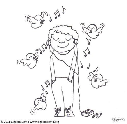 Cartoon: Bird Song (medium) by CIGDEM DEMIR tagged bird,demir,cigdem,song,music
