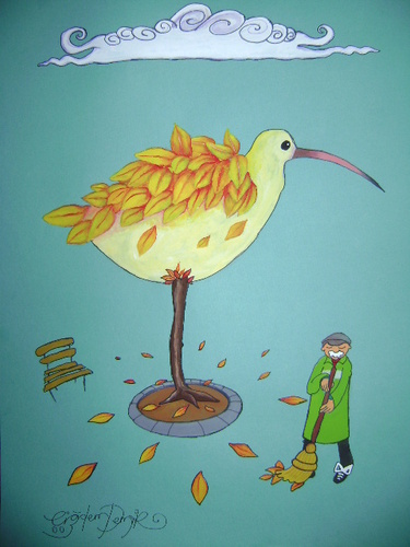 Cartoon: the bird losing its leaves (medium) by CIGDEM DEMIR tagged bird,animal,leaves,bench,tree,autumn,season,yellow,orange,red