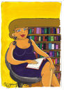 Cartoon: LIBRARY (small) by CIGDEM DEMIR tagged library woman women book literacy rate hair beauty reading colorful