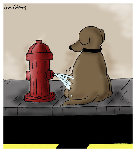 Cartoon: Hydrant Revenge (medium) by Humoresque tagged reversing,canines,canine,dogs,dog,pets,pet,behavior,hydrants,hydrant,fire,owners,owner,mark,territorial,territory,pissing,piss,peeing,pee,walk,marking,marks,role,behaviors,walking,walkers,walker,walks,reverse,reversals,reversal