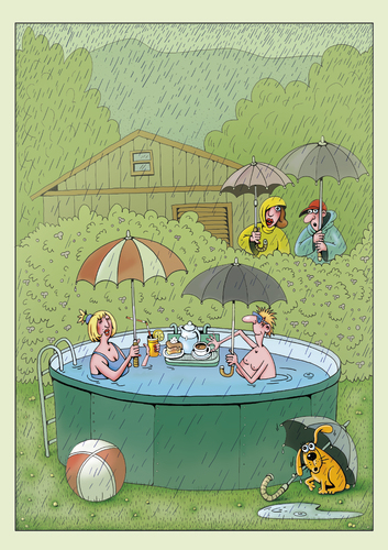 Cartoon: Schwimmliebhaber (medium) by kurtu tagged schwimmer,hobby,regen,schwimmer,hobby,regen