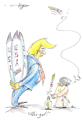 Cartoon: Alles ist gut! (medium) by kugel2020 tagged usa,amerika,trump,iran,mullahs,konflikt,attentat,raketen,rache,flugzeugabsturz,ukraine