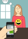 Cartoon: Your smile might not be mine (small) by Marjanne Mars tagged smile,fake,iphone,mobile,dating