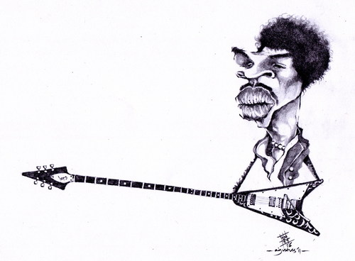Cartoon: jimi hendrix (medium) by cakBOY tagged jimi,hendrix,caricature,guitar,legend