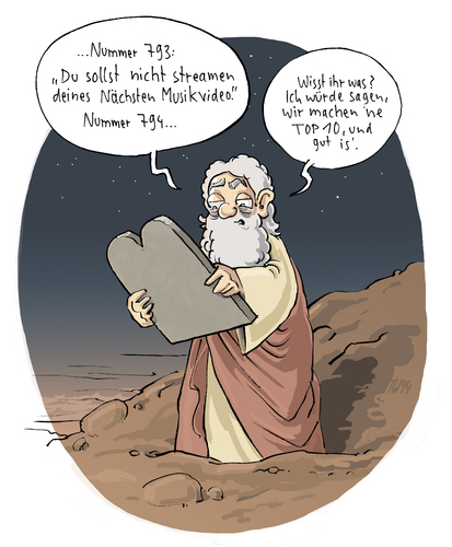 Cartoon: Best of Bibel (medium) by Tobias Wieland tagged testament,altes,bibel,berg,ten,10,top,of,best,internet,youtube,gema,gebote,zehn,religion,mose,kirche,wieland,tobias,cartoon,moses,gott,verboten,streaming,download,abmahnung,gott,moses,mose,religion,zehn,gebote,gema,youtube,internet,best,of,top,10,ten,berg,bibel,altes,testament,verboten,streaming,download,abmahnung