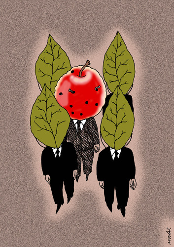 Cartoon: bodyguards and chief (medium) by Medi Belortaja tagged leafes,worms,apple,chief,gead,bodyguards