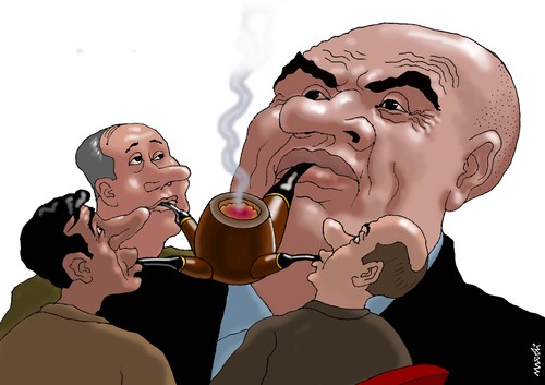 Cartoon: chief s pipe (medium) by Medi Belortaja tagged servants,hierarchy,pipe,chief,smoking,politics,business,humor