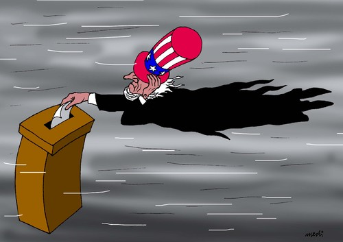 Cartoon: elections and hurricane (medium) by Medi Belortaja tagged elections,president,presidential,obama,romney,usa,hurricane,sandy,uncle,sam