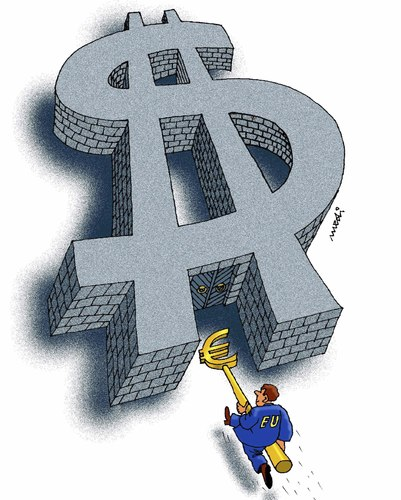 Cartoon: euro and usd (medium) by Medi Belortaja tagged opening,gate,dollar,euro