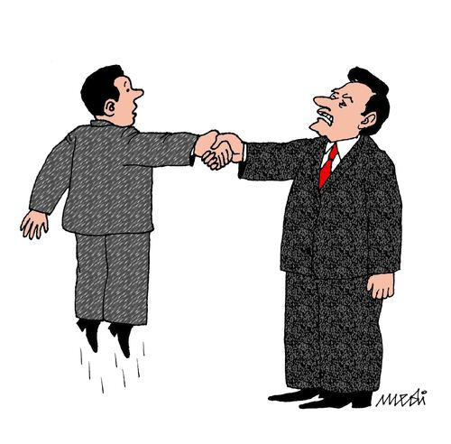 Cartoon: man without weight (medium) by Medi Belortaja tagged heads,handshake,weight,man,politics