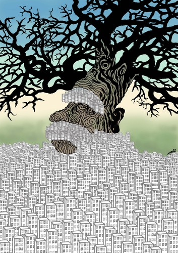 Cartoon: old tree (medium) by Medi Belortaja tagged buildings,forest,tree,old,city,tower,flats,environment,ecological,destruction