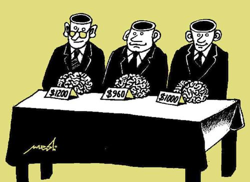 Cartoon: Sales of the brain (medium) by Medi Belortaja tagged intelligence,intellectuals,brain,sales,mind