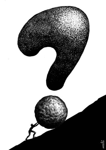 Cartoon: sisyphus (medium) by Medi Belortaja tagged boulder,stone,question,mark,sisyphus