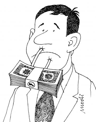 Cartoon: Speechless Money (medium) by Medi Belortaja tagged padlocks,speech,freedom,business,money