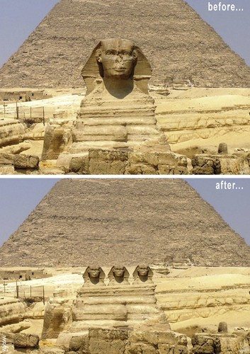 Cartoon: sphinx before and after (medium) by Medi Belortaja tagged parties,democracy,egypt,sphinx
