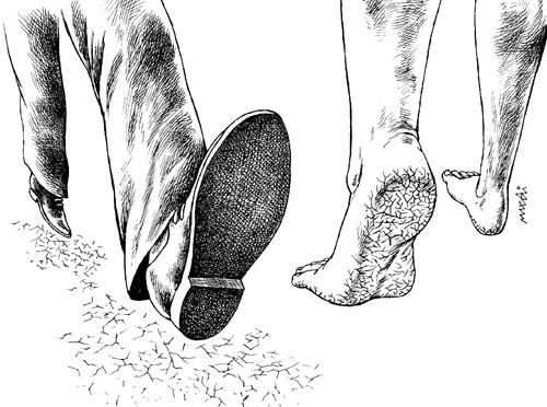 Cartoon: two different peoples (medium) by Medi Belortaja tagged foot,peoples,different,tracks,shoe,leg,poverty