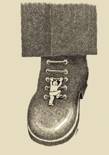 Cartoon: VIP shoe (medium) by Medi Belortaja tagged shoe,vip,ladders,career,man,climbing