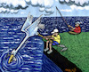 Cartoon: fishing (small) by Medi Belortaja tagged fishing fisherman fish bird