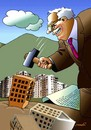 Cartoon: constructors of buildings (small) by Medi Belortaja tagged constructors,buildings,hammer,environment,ecology