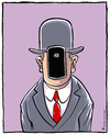 Cartoon: Magritte (small) by Riemann tagged smart,phone,internet,digital,art,history,famous,paintings,magritte,handy,modern,times,cartoon,george,riemann