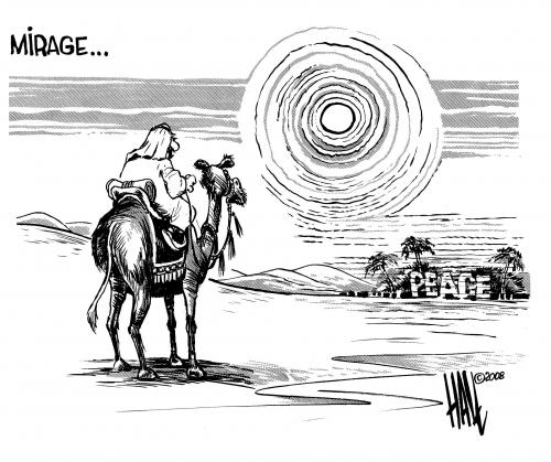 Cartoon: Mirage (medium) by halltoons tagged middle,east,peace,gaza,israel,palestine