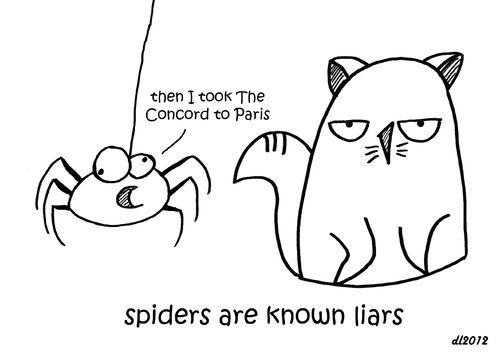 Cartoon: One Cats Thoughts (medium) by DebsLeigh tagged cat,cartoon,feline,pet,spider,liars,thoughts,kitty