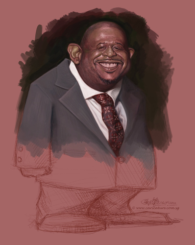 Cartoon: Forest Whitaker caricature (medium) by jit tagged forest,whitaker,caricature