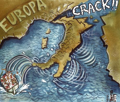 Cartoon: Crack!!! (medium) by matteo bertelli tagged berlusconi,migration,crack