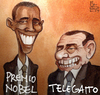 Cartoon: the prizes (small) by matteo bertelli tagged berlusconi,bertelli,obama,nobel,telegatto