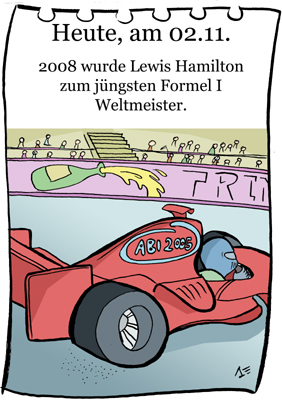 Cartoon: 2. November (medium) by chronicartoons tagged formel1,lewis,hamilton,rennwagen,bolide,cartoon