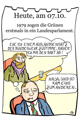 Cartoon: 7. Oktober (medium) by chronicartoons tagged grüne,parlament,politik,cartoon