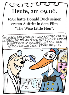 Cartoon: 9. Juni (medium) by chronicartoons tagged donald,duck,disney,toon,zeichentrick,entenhausen,schönheitsoperaion
