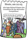 Cartoon: 22.Mai (small) by chronicartoons tagged bayreuth,wagner,nibelungen,walküre,klassik,cartoon