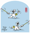 Cartoon: duell with handicap (small) by zenundsenf tagged duell,handicap,behinderung,blind,zenf,zensenf,zenundsenf,walter,andi