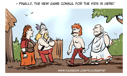 Cartoon: Game consul (medium) by tejlor tagged ancient,game,consul,console