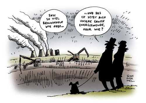 Cartoon: Energiewende Paradox (medium) by Schwarwel tagged energiewende,paradox,energie,braunkohle,strom,1990,2013,karikatur,schwarwel,energiewende,paradox,energie,braunkohle,strom,1990,2013,karikatur,schwarwel