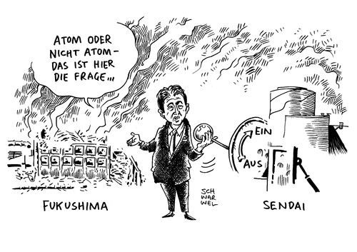 Cartoon: Reaktor ans Netz Japan (medium) by Schwarwel tagged reaktor,japan,atom,atomkraft,fukushima,karikatur,schwarwel,atomkatastrophe,betreiberkonzern,kyushu,electric,power,atomkraftwerke,akw,sendai,atomkraftgegner,reaktor,japan,atom,atomkraft,fukushima,karikatur,schwarwel,atomkatastrophe,betreiberkonzern,kyushu,electric,power,atomkraftwerke,akw,sendai,atomkraftgegner